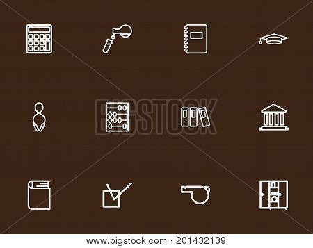 Set Of 12 Editable Teach Outline Icons. Includes Symbols Such As Academic Hat, Classbook, Building And More