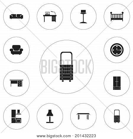 Set Of 12 Editable Furnishings Icons. Includes Symbols Such As Sofa, Settee, Stillage And More