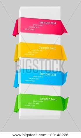 Set with colorful origami paper banners. Vector illustration.