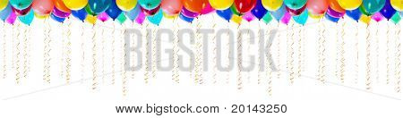 seamless isolated balloons with streamers for party or birthday