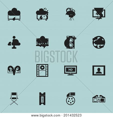 Set Of 16 Editable Filming Icons. Includes Symbols Such As Reel, Reel, Ultra Display And More