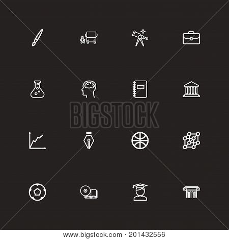 Set Of 16 Editable Education Outline Icons. Includes Symbols Such As Sport, Pillar, Classbook And More