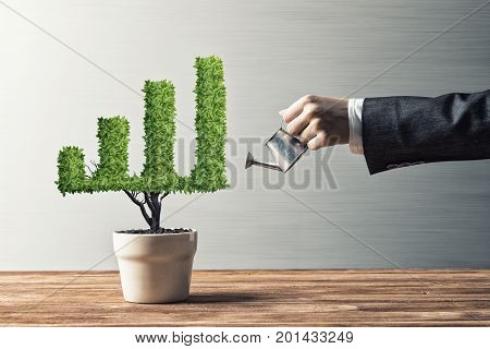 Hand of woman watering small plant in pot shaped like growing graph