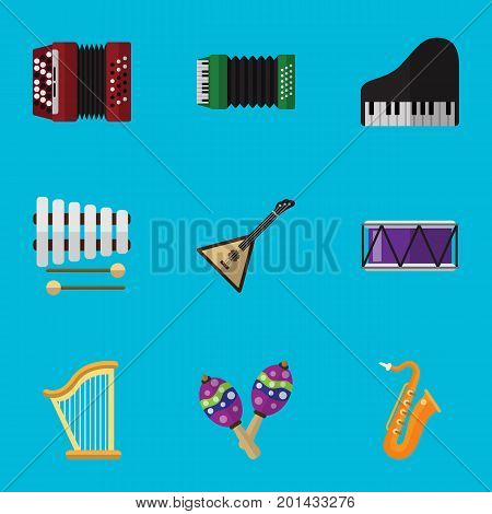 Set Of 9 Editable Music Flat Icons. Includes Symbols Such As Piano, Sticks, Barrel And More