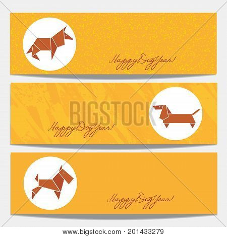 Horizontal banners set. Happy Chinese lunar new year 2018. Oriental holiday. Vector brown dog sign. Asian traditional honesty symbol decorative element. Festive home pet emblem card background