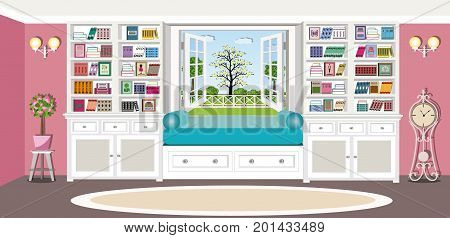 Cute bright living room interior design with comfortable furniture. Cozy place to relax near the window with large bookcases. Flat style vector illustration.
