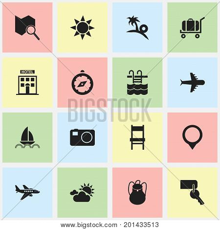 Set Of 16 Editable Holiday Icons. Includes Symbols Such As Basin, Aero, Sunrise And More