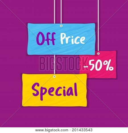 Sale Concept. Colorful grunge background. Fancy letters Off Price Special for big Discount offer promotion. Price drop. Flat design element of season hot deal campaign banner. Vector illustration