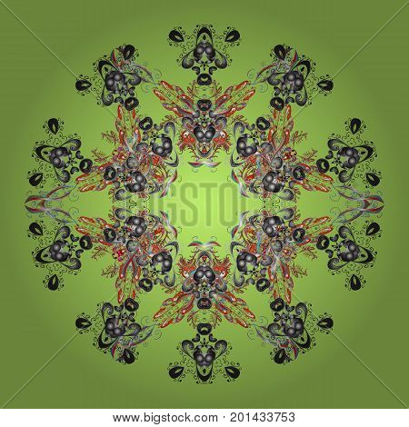 Vector illustration. Snowflakes background. Flat design with abstract snowflakes isolated on colorful background. Snowflake ornamental pattern. Snowflakes pattern.