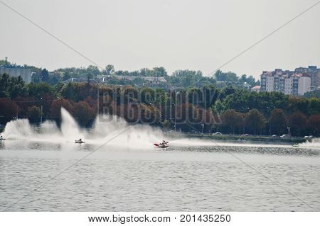 Ternopil, Ukraine - August 26, 2017: World Championship Powerboat On August 26, 2017 In Ternopil, Uk