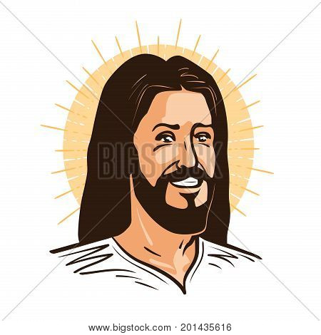 Portrait of happy Jesus Christ. Messiah, God symbol Christianity. Cartoon vector illustration isolated on white background