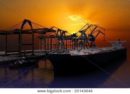 Tanker trucks at the port.