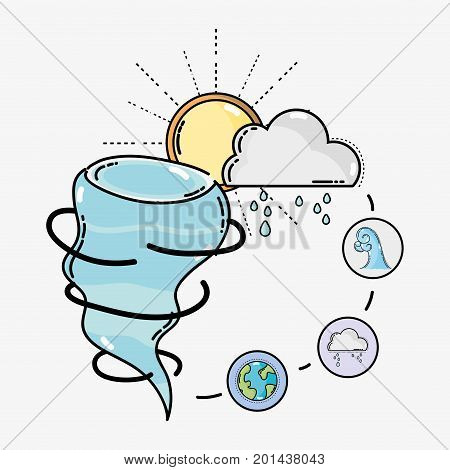 diferents weather with natural conditions vector illustration design