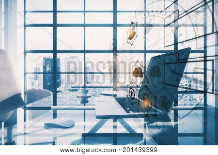 Side view of modern office workplace with laptop coffee cup digital business hologram and window frame with bright city view and daylight. Technology concept. Double exposure
