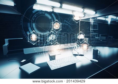 Dark office workplace with business hologram on computer screen coffee cup supplies and other items. Innovation concept. Double exposure