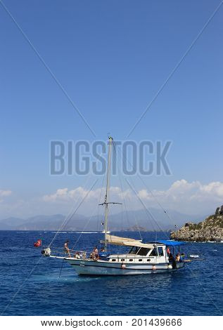 27TH JULY 2017:  Boat trips for tourists around the bays of fethiye in Turkey,27th july 2017