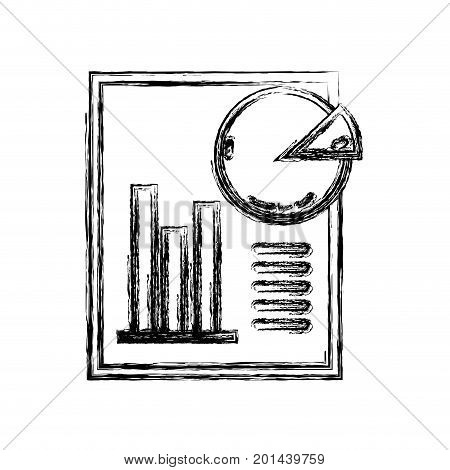 figure document with statistics bar diagram graphy vector illustration