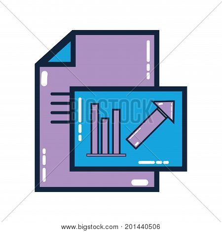 document with statistics bar diagram graphy vector illustration