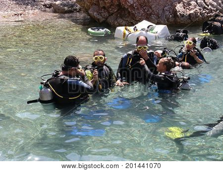 FETHIYE, TURKEY, 19TH JULY 2017: A diving boat with tourists for a days scuba diving at fethiye in turkey, 19th july 2017