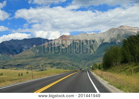 Mountain views of Telluride in summer time
