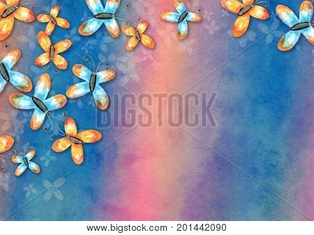 A hand made and artistic textured paper background design using blended watercolour effects and hand painted butterflies.