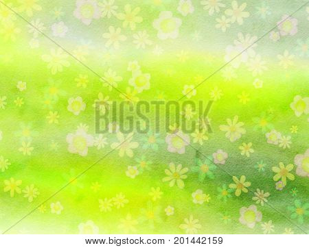 A hand made digital artistic textured paper background design using blended watercolour effects and hand painted daisy flowers.