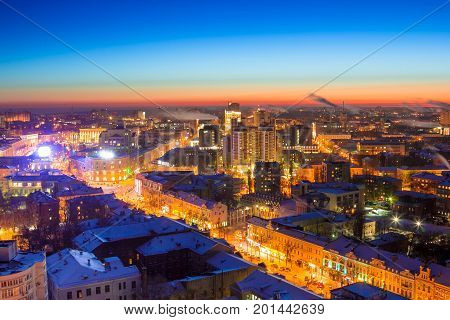 Winter night Voronezh downtown aerial cityscape. View to Revolution prospect