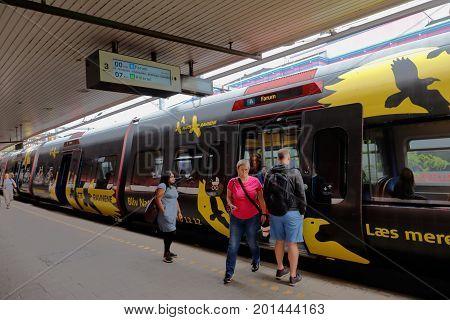 Copenhagen Denmark - August 24 2017: A Copenhagen area public transport S-train has stopped at the Vesterport railroad station.