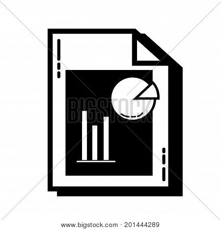 contour document with statistics bar diagram graphy vector illustration