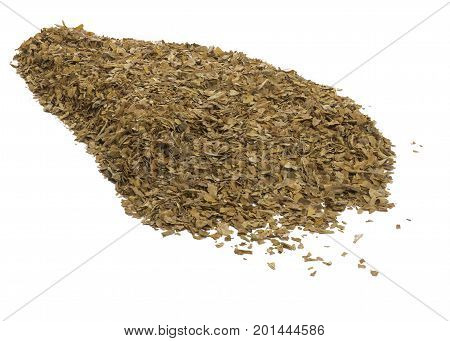 close up of unprocessed tobacco leaves on a white isolated background