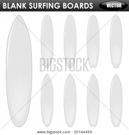 Blank surfing boards of different shapes isolated on white background.