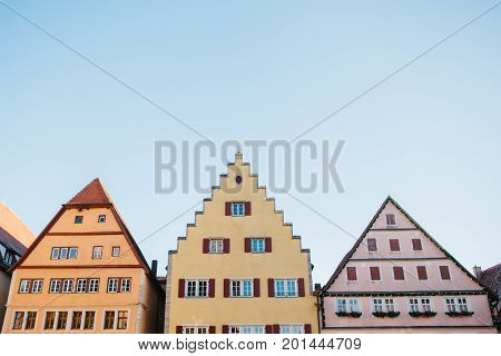 Traditional houses in Rothenburg ob der Tauber in Germany. European architecture.