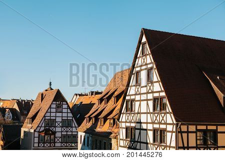 Traditional German houses in Rothenburg ob der Tauber in Germany. Europe. Architecture.