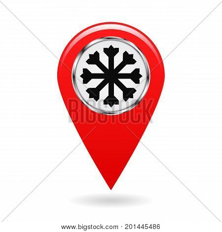 Map pointer. The pointer of snow drifts and icy areas on the map terrain. safety symbol. Red object on white background. Vector illustration.