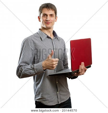happy male with laptop in his hands shows well done