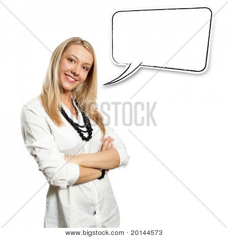 Beautiful European young businesswoman with crossed hands standing against different backgrounds
