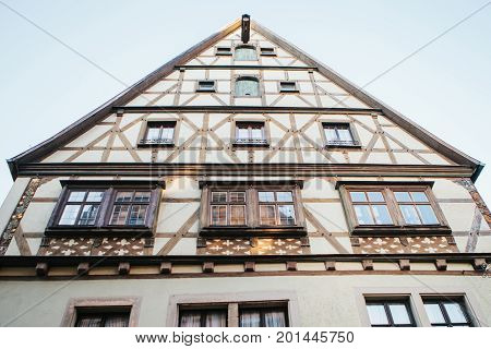 Traditional German house in Rothenburg ob der Tauber in Germany. Europe. Architecture.