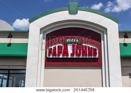 Indianapolis - Circa August 2017: Papa John's Take-Out Pizza Restaurant. Papa John's is the third largest take-out and pizza delivery chain in the world VI