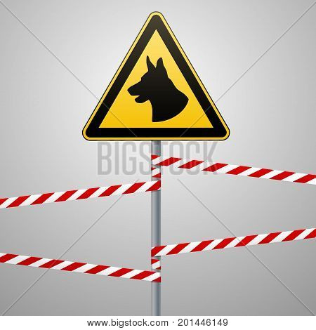aution - danger Be aware of dogs area is guarded by dogs. Warning sign safety. sign on the pole and warning bands. Gray background. Vector illustration.