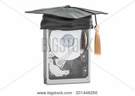 Hard Disk Drive HDD with education cap 3D rendering isolated on white background