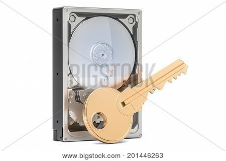 Hard Disk Drive HDD with key encryption concept 3D rendering isolated on white background