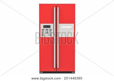 Red fridge with side-by-side door system 3D rendering isolated on white background
