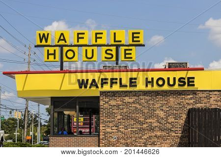 Indianapolis - Circa August 2017: Exterior and Logo of Iconic Southern Restaurant Chain Waffle House. Waffle House was founded in 1955 II