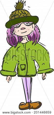 girl walk vector.Watercolor picture of the girl walking