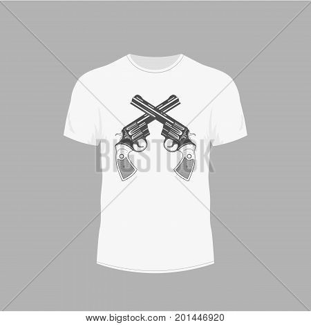 clothing design. T-shirt with picture of gun revolver