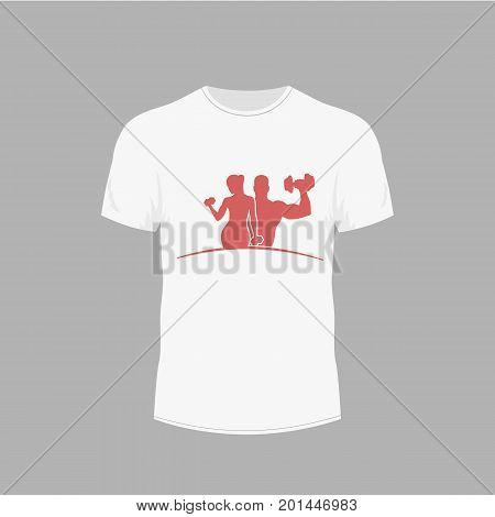 clothing design. T-shirt with a picture of sport lable. Fitness and gym emblem