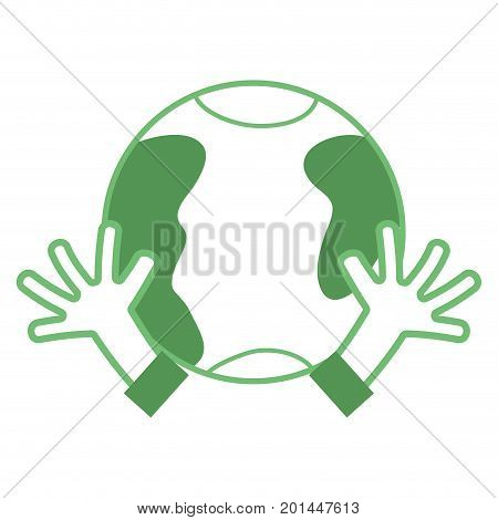 silhouette earth planet with hands and peace symbol vector illustration