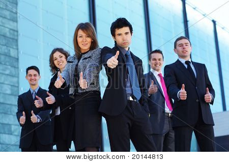 Business team over modern city background