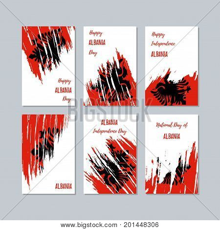 Albania Patriotic Cards For National Day. Expressive Brush Stroke In National Flag Colors On White C