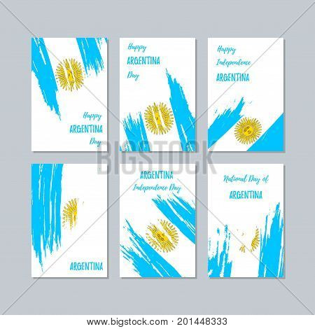 Argentina Patriotic Cards For National Day. Expressive Brush Stroke In National Flag Colors On White